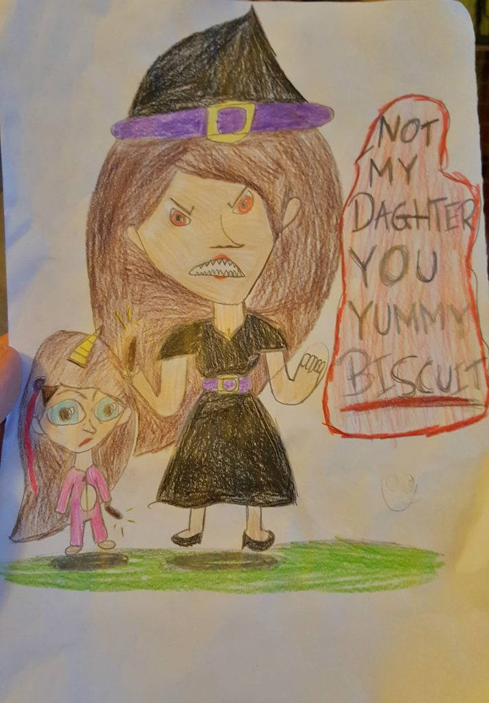 """harry potter themed drawing of a witch with her daughter who is dressed as a unicorn and the witch is saying """"not my daughter you biscuit"""""""