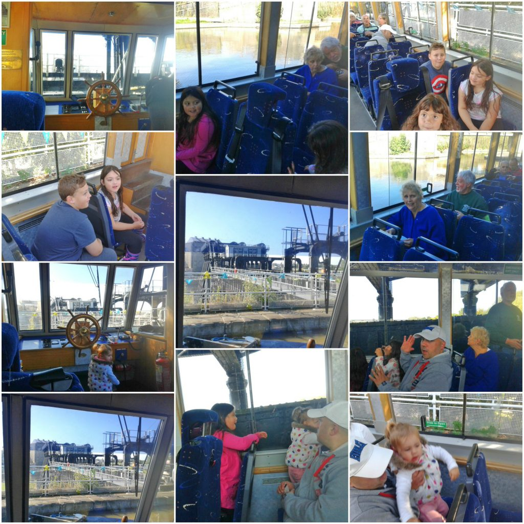 collage of photos from the anderton boat lift ride down the lift