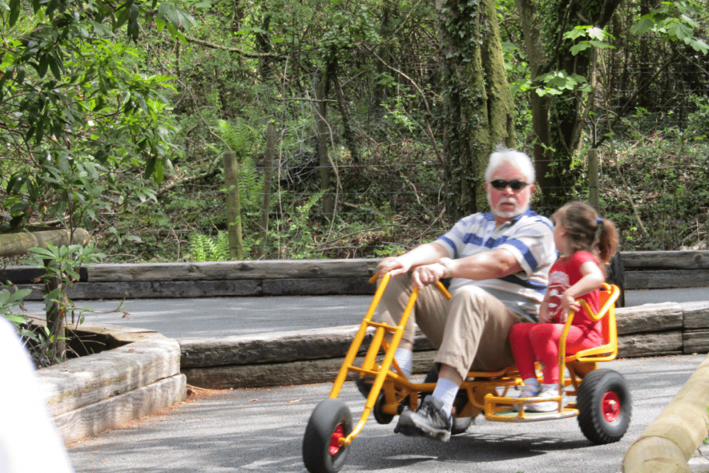 little girl speaking to her granddad who is peddling a two-person side by side trike
