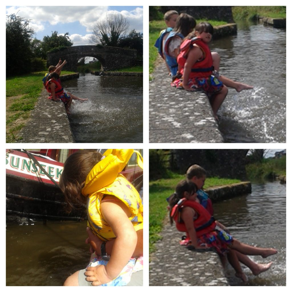 collage of four pictures showing children splashing in the montgomery canal