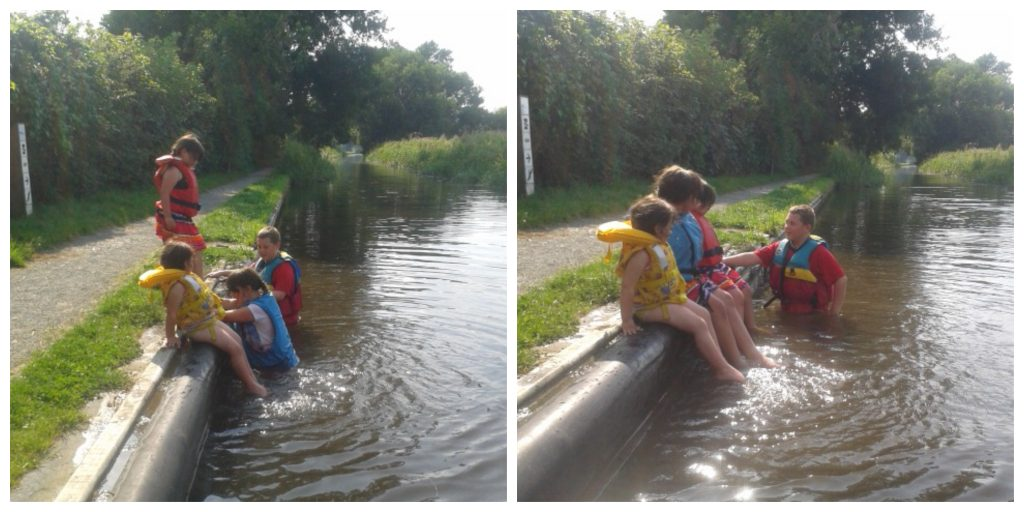 children playing in the montgomery canal