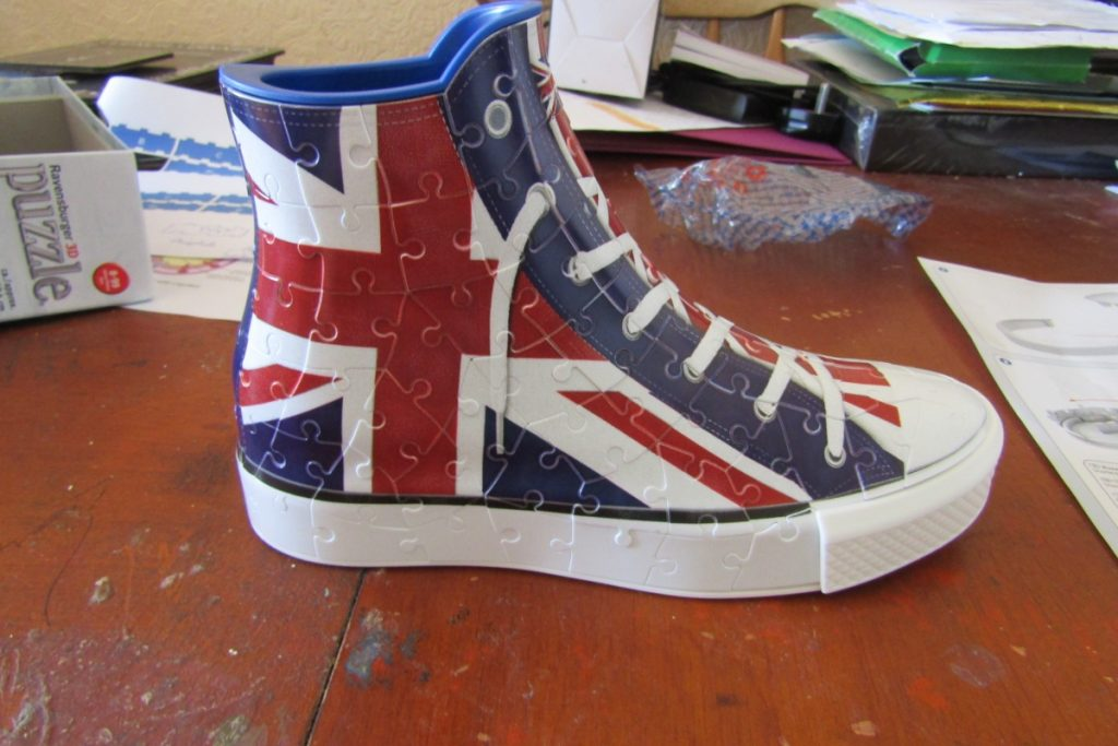 the completed ravensburger 3d union jack sneaker puzzle