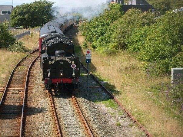 a steam train with The Cambrian on the front passes under the bridge where the photographer is stood