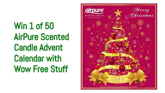 picture of advent calendar and text saying win 1 of 50 AirPure Scented Candle Advent Calendars with Wow Free Stuff