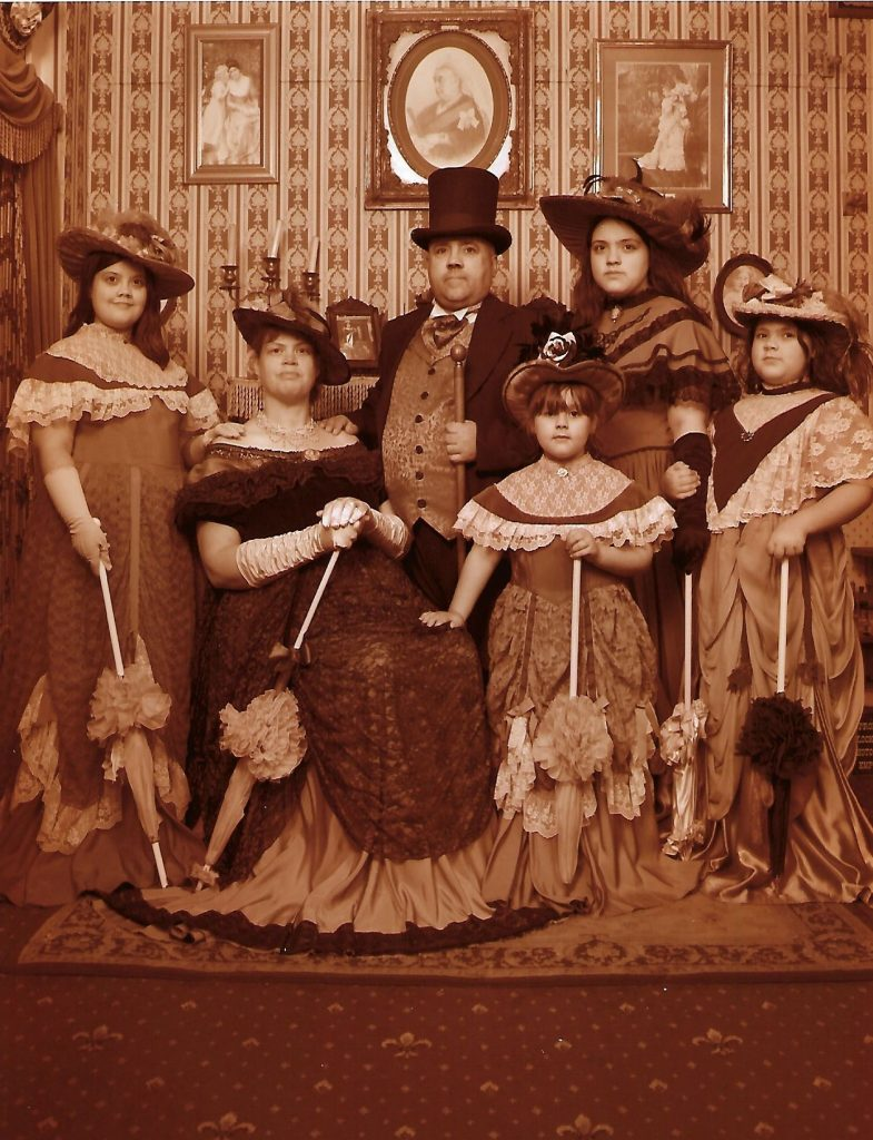 victorian style family photo in black and white vintage style